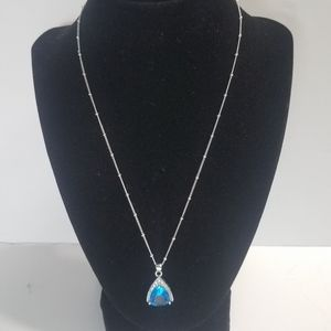 Origami Owl Necklace 10kt Pendant With Large Blue